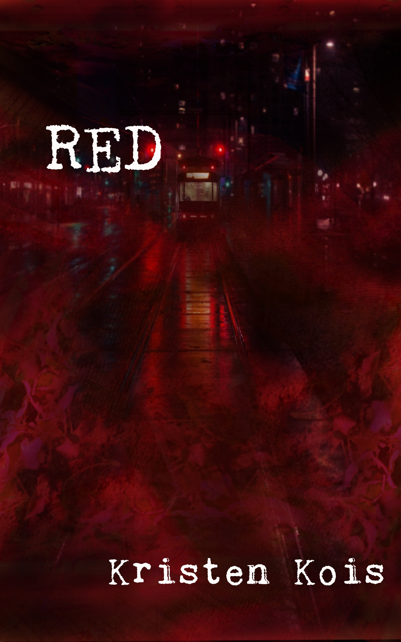 """Red"" cover design, train surrounded by red foliage"