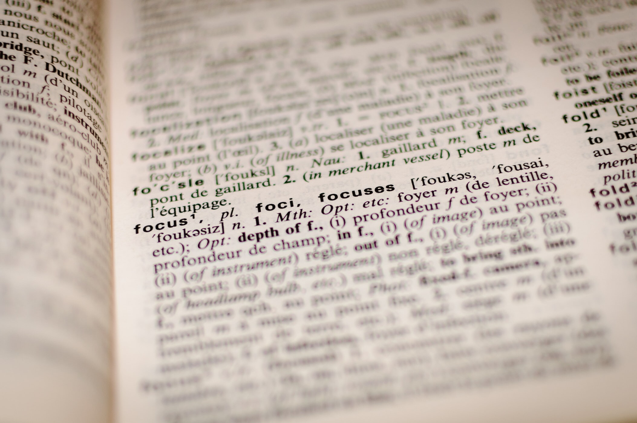 Dictionary focusing on the word focus
