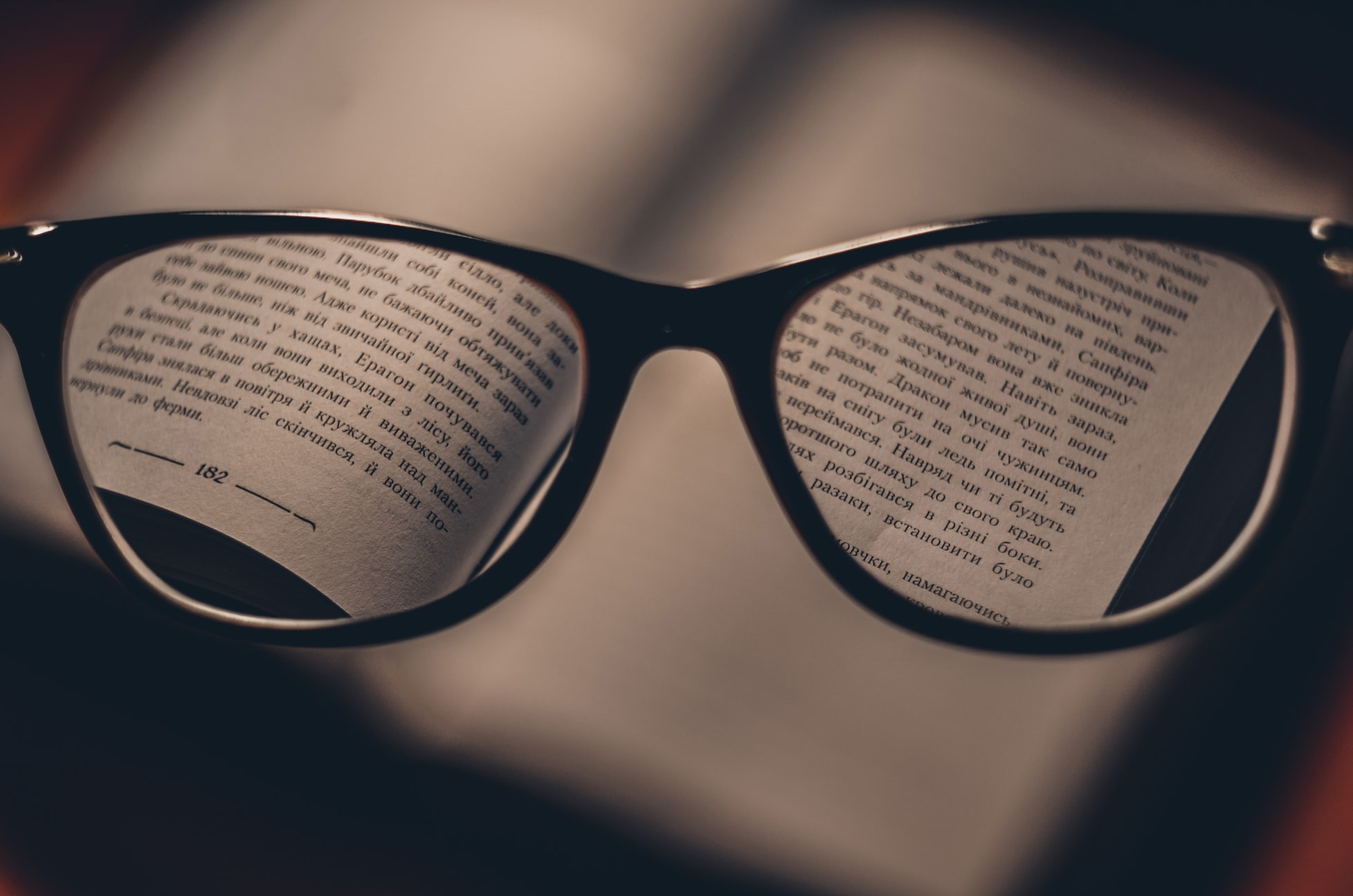 Seeing a book through glasses