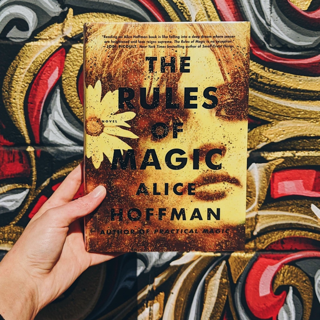 The Rules of Magic book in front of painted wall.